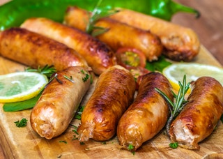 Cooked sausages in close up view 2901854
